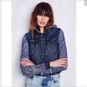 Free people knit hooded denim jacket size S ditach